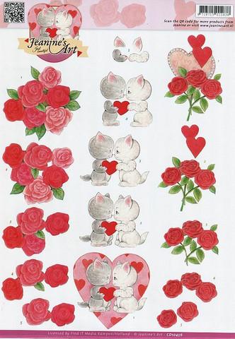 3d-kuvat ystävälle kisut, kukat ja sydämet Jeanine´s Art a4