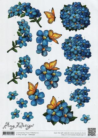 3d-kuvat siniset kukat ja perhoset Amy Design a4