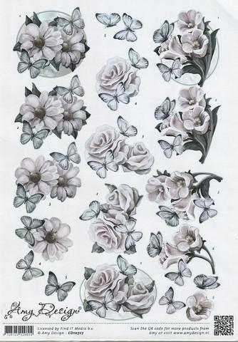 3d-kuvat vaaleat kukat ja perhoset Amy Design a4