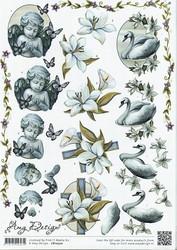 3d-kuvat suru enkeli, kukat, joutsen Amy Design a4