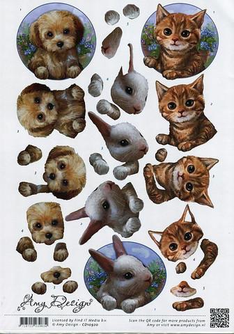 3d-kuvat kissa , koira ja pupu  Amy Design a4