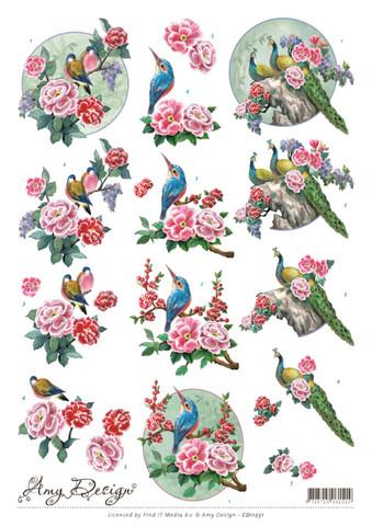 3d-kuvat linnut ja kukat Amy Design a4