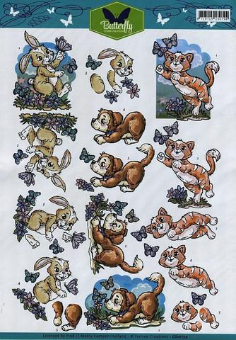 3d-kuvat suloiset eläimet ja perhoset Yvonne Creations a4