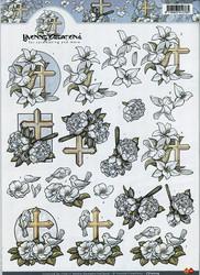 3d-kuvat valkoiset kukat ja ristit Yvonne Creations a4