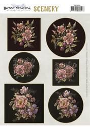Stanssatut korttikuvat kukat mustalla taustalla Yvonne Creations a4