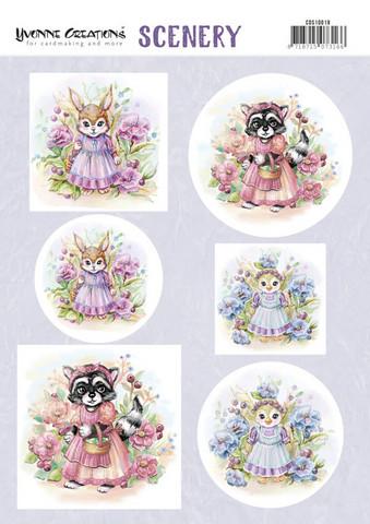 Stanssatut korttikuvat  söpöt eläimetYvonne Creations a4