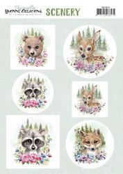 Stanssatut korttikuvat suloiset metsäneläimet Yvonne Creations a4