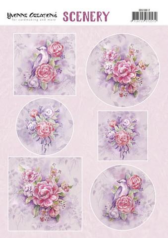 Stanssatut korttikuvat upeat ruusut ja linnut Yvonne Creations a4
