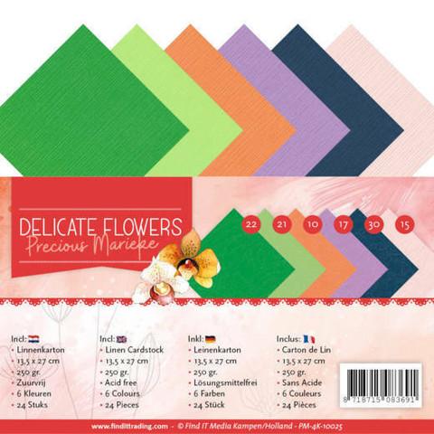 Tekstuurikorttikartongit Precious Marieke Delicate Flowers 13,5x27cm