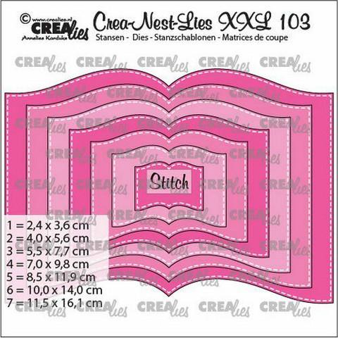 Crealies stanssit XXL Book with stitchline 7kpl CLNestXXL103