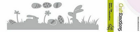 CraftEmotions stanssit  Bunny 1 grass with eggs Card