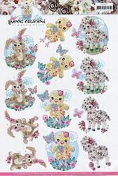 3d-kuvat söpö pupu, tipu ja lammas Yvonne Creations a4