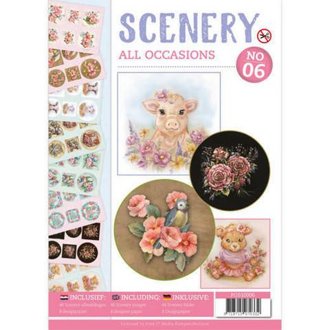 Korttikuvakirja stanssattu + paperit - Scenery All Occasions a4