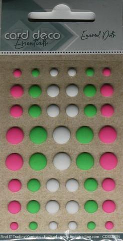 Enamel dots tarrakoristeet matta pinkki-valko-vihreä