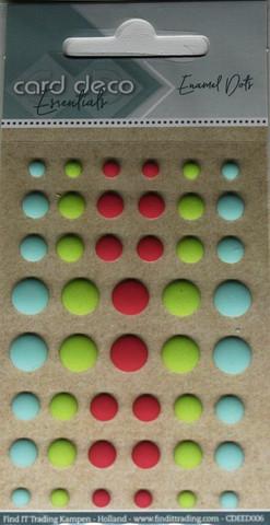 Enamel dots tarrakoristeet matta vihreä-puna-sininen