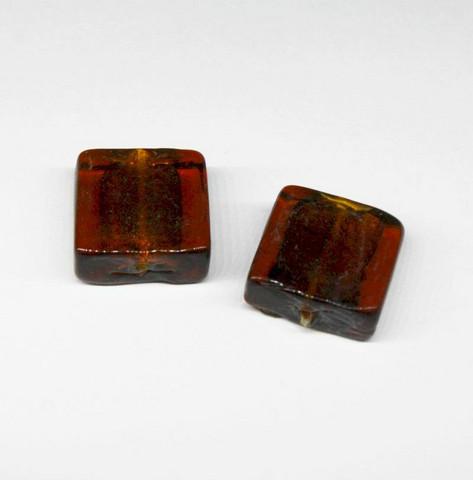Foliolasihelmi neliö - ruskea 15x15mm 10kpl