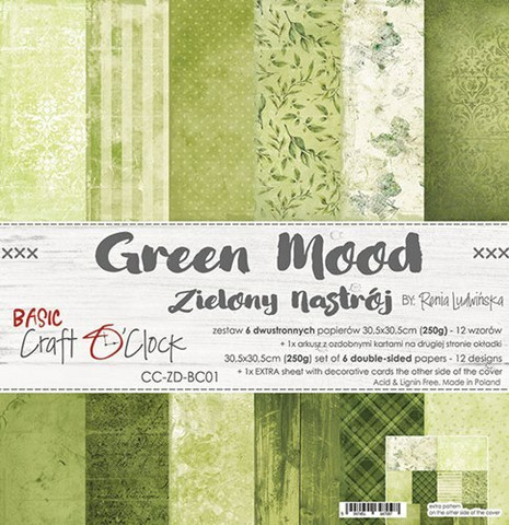Craft O´Clock Green Mood basic paperisetti 30,5x30,5cm 6kpl