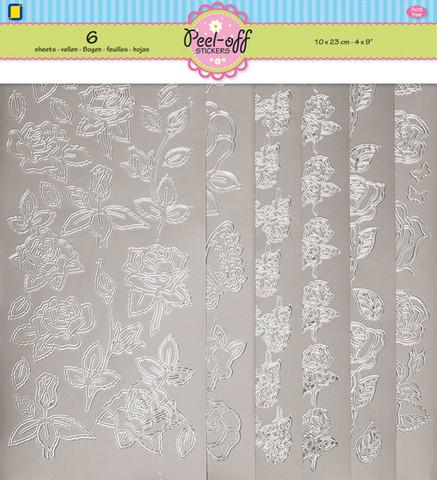 Ääriviivatarrat hopeiset ruusutarrat 6kpl Jeje