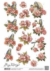 3d-kuvat vaaleanpunaiset kukat ja linnut Amy Design a4