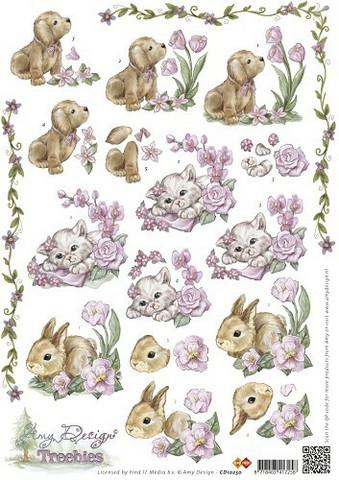3d-kuvat söpöt eläimet ja kevätkukat Amy Design a4