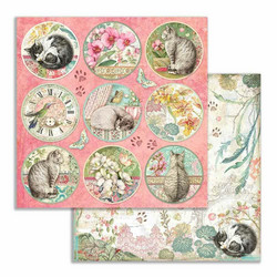 Stamperia korttikuvat Orchids and Cats rounds 12x12