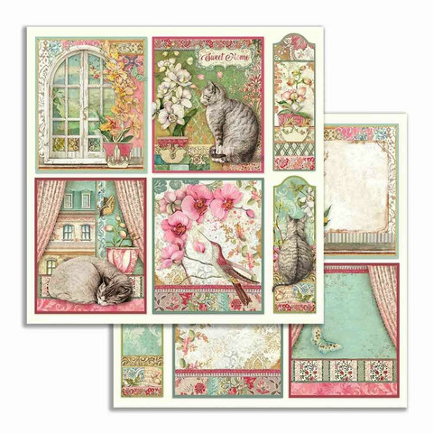 Stamperia korttikuvat Orchids and Cats cards 12x12