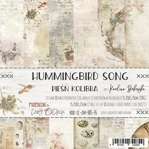 Craft O´Clock paperikko Hummingbird song 15,25x15,25cm