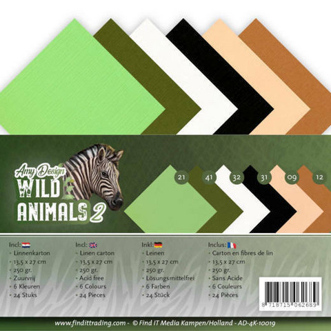 Tekstuurikorttikartongit Amy Design Wild Animals 13,5x27cm