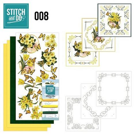 Stitch and Do - Yellow flowers08 ommeltava kortteilupakkaus