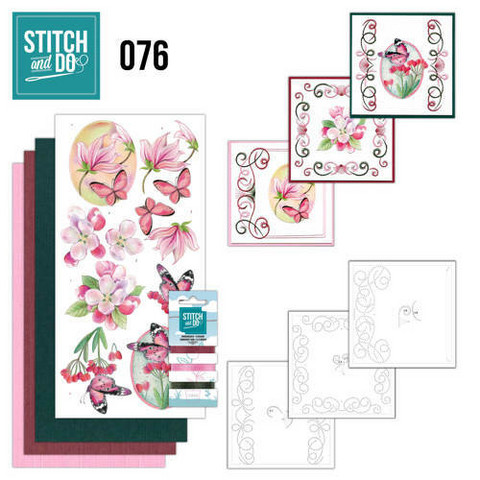 Stitch and Do - Pink Flowers 76 ommeltava kortteilupakkaus