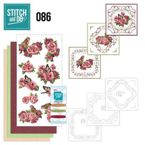 Stitch and Do - Birds and Roses 86 ommeltava kortteilupakkaus