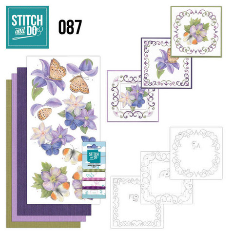 Stitch and Do - Purple Flowers 87 ommeltava kortteilupakkaus