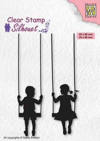 Nellie Choice leimasin keinujat Boy and girl swinging SIL076