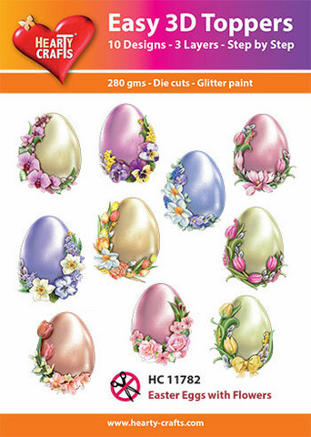Hearty Crafts stanssatut 3d-kuvat Easter Eggs with Flowers