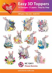 Hearty Crafts stanssatut 3d-kuvat Flower Bunnies