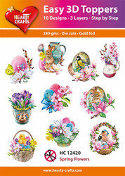Hearty Crafts stanssatut 3d-kuvat Spring Flowers