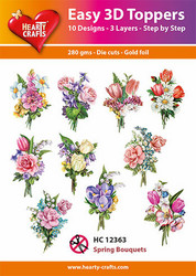 Hearty Crafts stanssatut 3d-kuvat Spring Bouquets