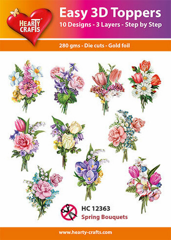 Hearty Crafts stanssatut 3d-kuvat Spring Bouquets