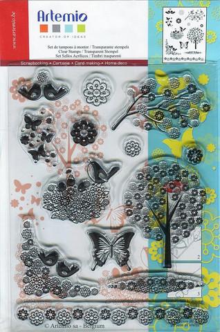 Artemio kirkas leimasetti perhoset, linnut ja kirsikankukkat a5