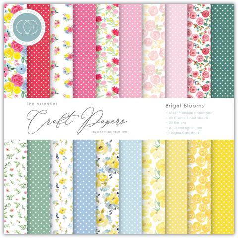 Craft Consortium paperilehtiö Bright Blooms 6x6