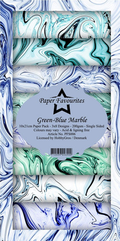 HG paperikko Green-Blue Marble 10x21cm
