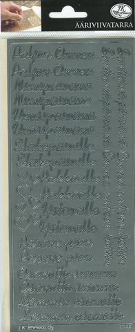 Ääriviivatarrat Erilaisia tekstitarrroja hopea JK Primeco 9737
