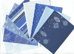 Joulukorttipohjat kaksiosainen - sinisävyiset 8kpl + kuoret