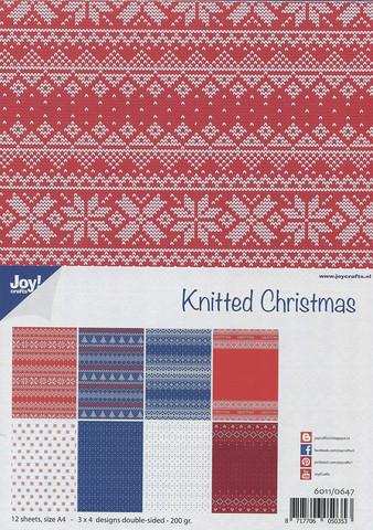Joy Craft Knitted Christmas paperisetti 12kpl a4