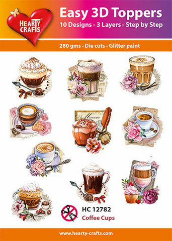 Hearty Crafts stanssatut 3d-kuvat Coffee Cups