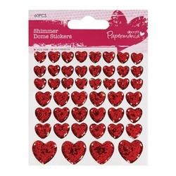 Papermania Shimmer dome sydänkimalletarrat punainen 46kpl