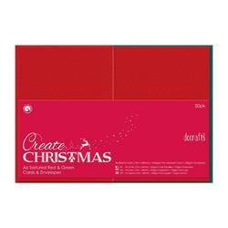 Papermania joulukorttipohjat ja kuoret A6 punainen/vihreä 50kpl