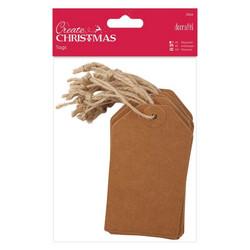 Tagit pakettikortit juuttinarulla 20kpl 11,2x6,3cm Docrafts - ruskea