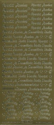 Ääriviivatarrat Hyvää Joulua ja Onnellista Uutta Vuotta pieni kulta 1650