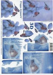 Lesuh 3d-kuva sininen talvimaisema  ja punatulkut a4 4169542